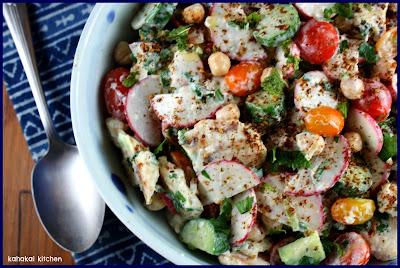Kahakai Kitchen: Na'ama's Fattoush: Bread & Vegetable Salad