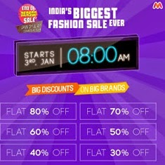 Biggest Ever Fashion Sale @ Myntra with Whooping Discount Offers on Clothing | Footwear | Accessories : Flat 80% Off + Extra 10% Cashback (Over)