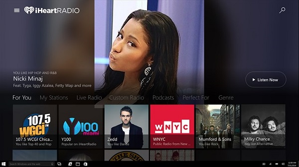 iHeartRadio rolls out universal Windows 10 app with Cortana support