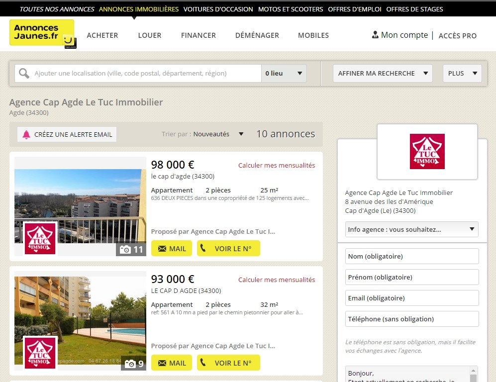 Agence cap d 39 agde conseils en immobilier 34300 france for Site achat immobilier