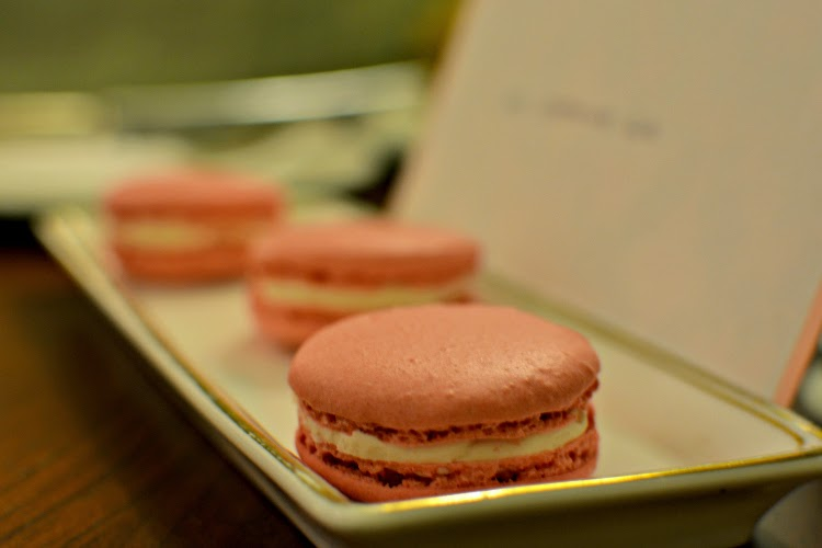 Pink macarons at Langham Hotel London