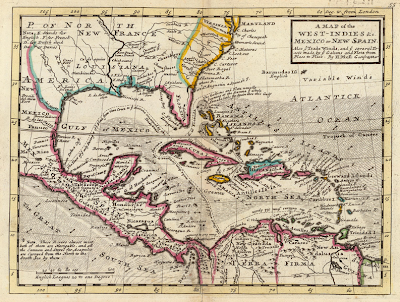 Mapa de las Indias occidentales, México y América Central, la denominada Nueva España con Cuba en el centro, dibujado por Herman Moll en 1736