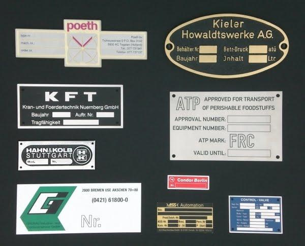 Soorten naam en typeplaat