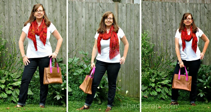 Mid-Life Mom Style T-shirt, Skinnies and Scarf