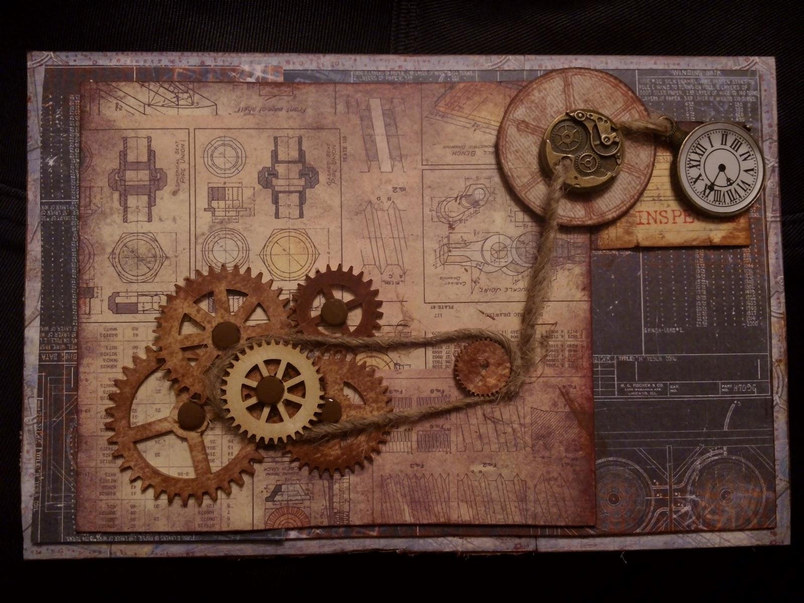 Мужская открытка с шестеренками скрапбукинг