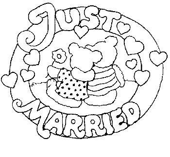 Wedding Coloring Pages Just Married on gears coloring pages