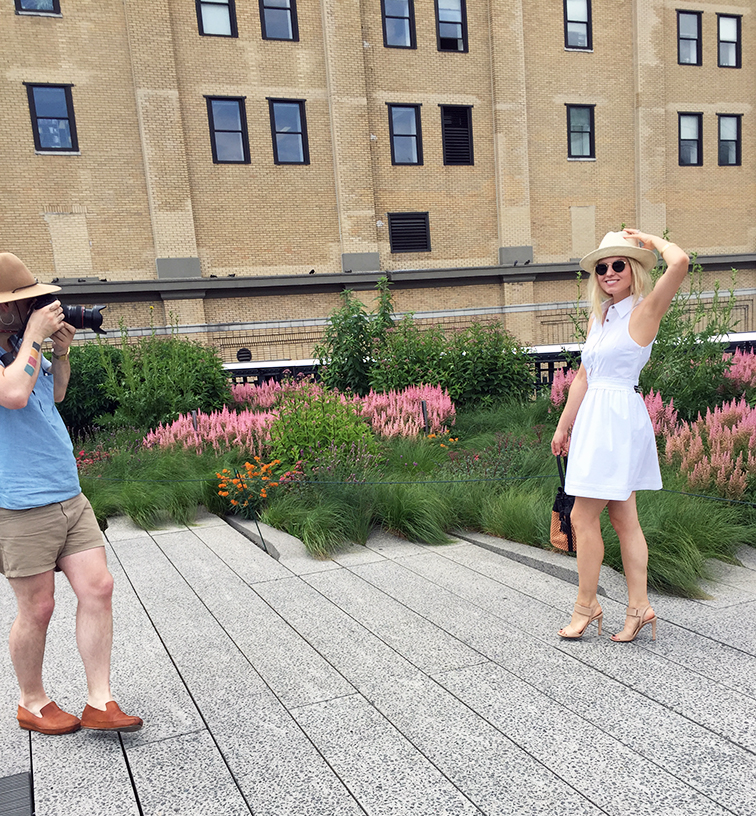 High Line photo shoot with Keaton Row in a Diane Von Furstenberg dress
