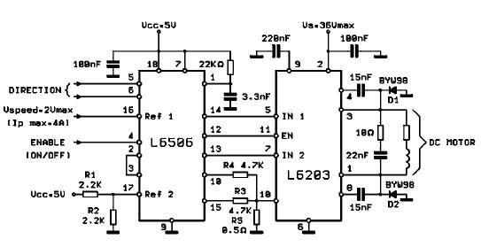 L6203 Dc Motor Controller Circuit Diagram