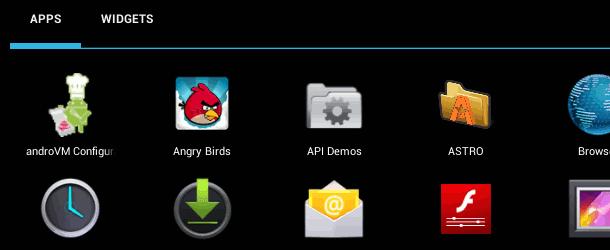 AndroVM setting menu