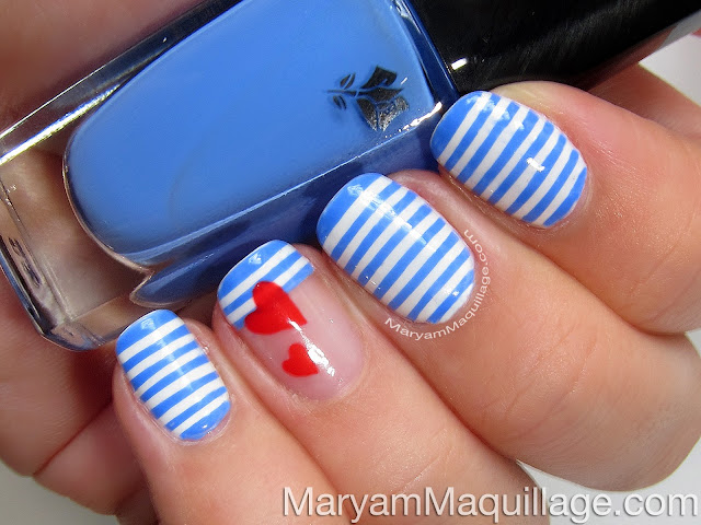 Maryam maquillage sailor stripes nail art easy tutorial optional add red hearts on top of the stripes for a fun twist you can watch my youtube tutorial on how to create hearts watch my easy nail art prinsesfo Image collections