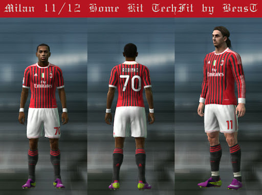 Milan 11/12 Home Kit  (Techfit) by BeasT