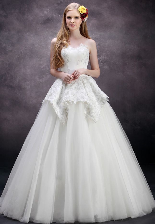ball gown wedding dress with peplum