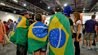 Brazilian fans at the London Olympics, 2012; photo by Ben e c