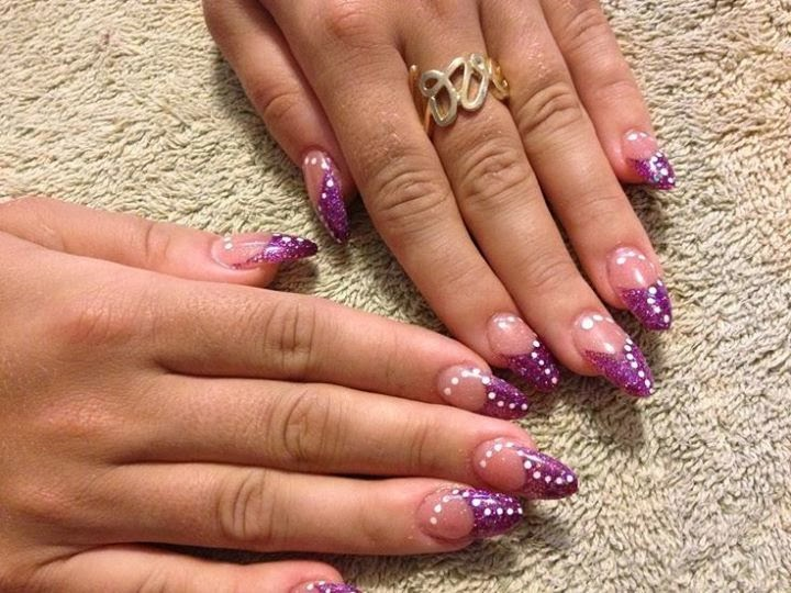 Miranda Set Of Sculpted Purple Acrylic Stilettos With Some Simple White Gel Polish Dotting In Almond Shaped Nails Nail Art