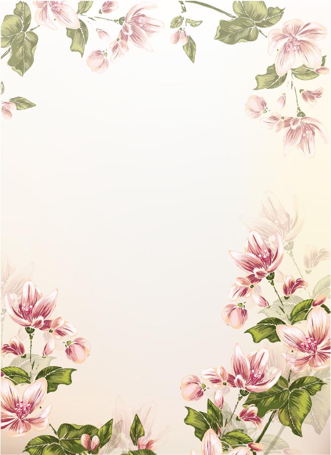 美しい花で縁を囲んだ背景 Colorful floral background イラスト素材