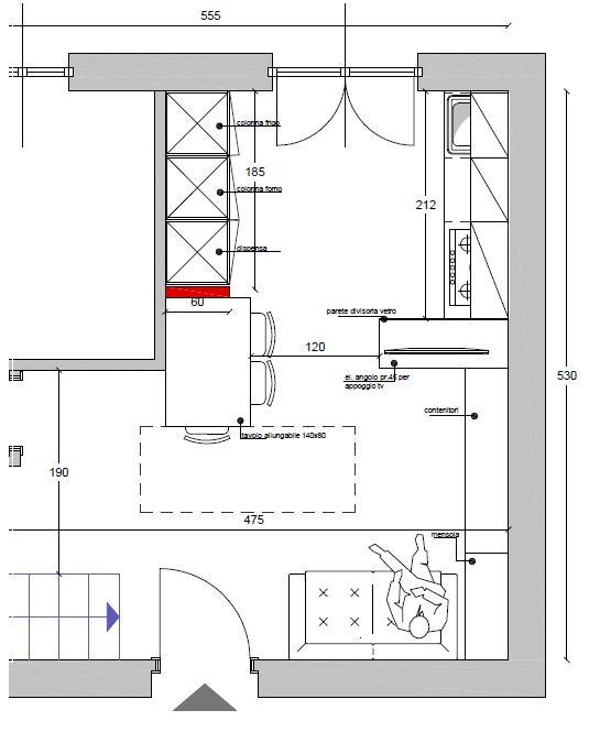La casa rosso papavero arredare - Dimensioni minime cucina bar ...