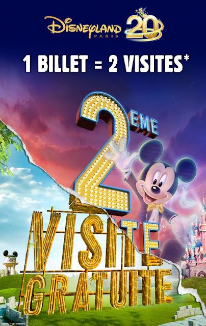 Disneyland 1 billet = la deuxième visite gratuite