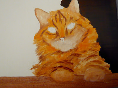 work-in-progress cat oil painting