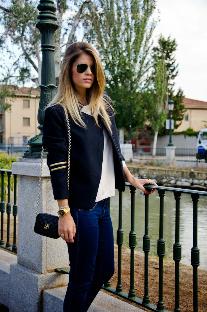 Navy blue and gold accents Jacket