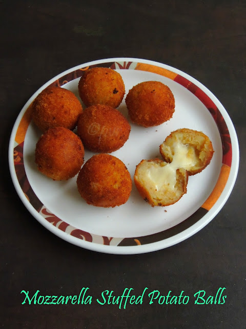 Cheese stuffed potato balls, Mozzarella potato balls