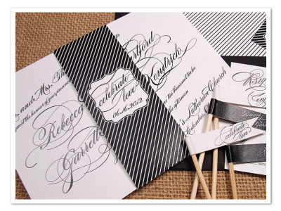 black white glamorous diagonal script calligraphy wedding invitation printable diy