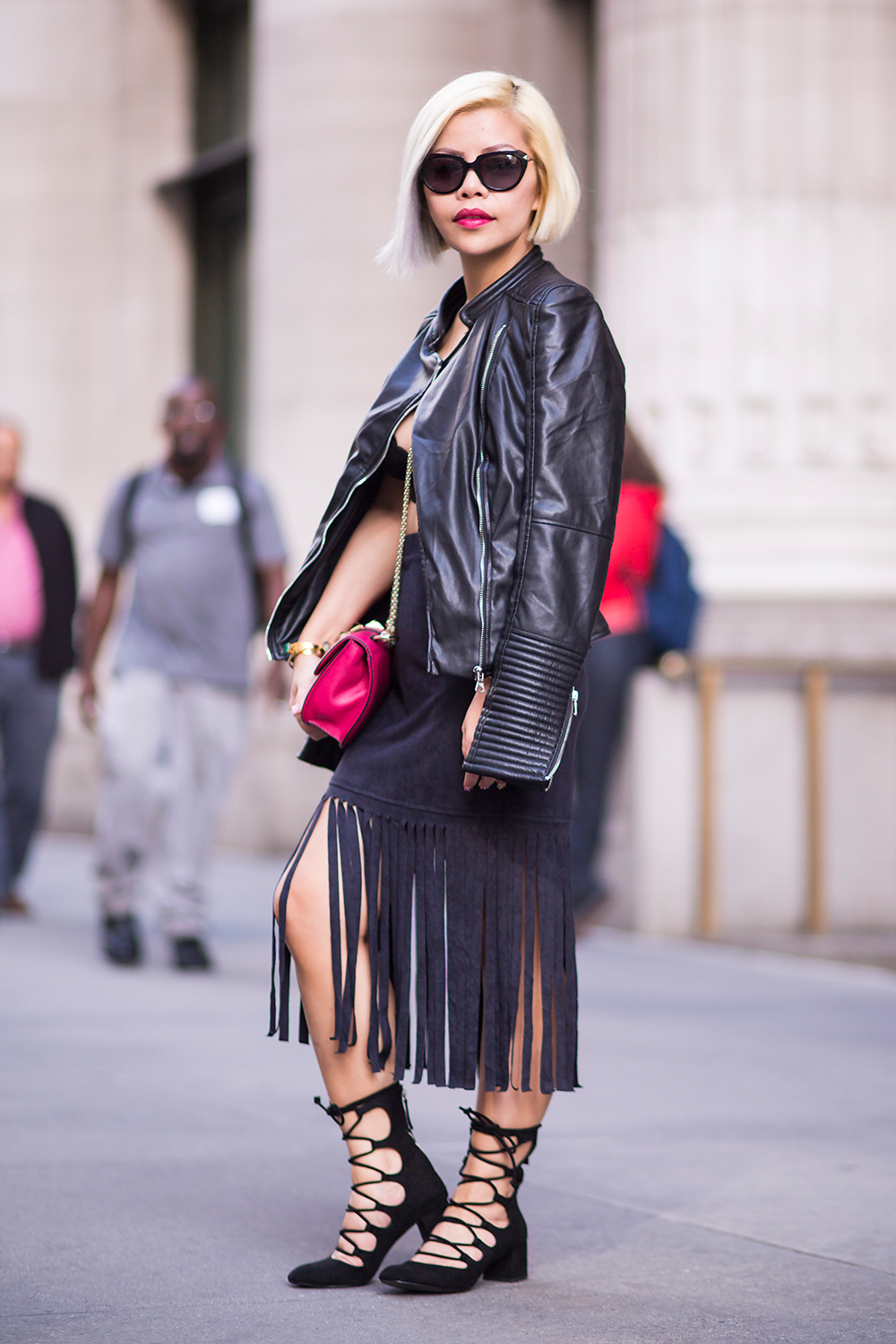 Crystal Phuong- New York Fashion Week 2015 street style- Leather, fringe and lace
