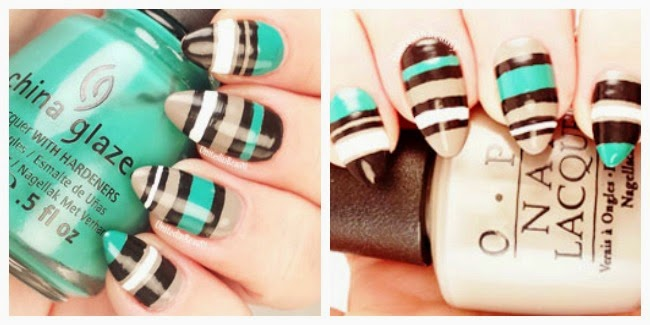 Freehand striped nails by @unitedinbeauty