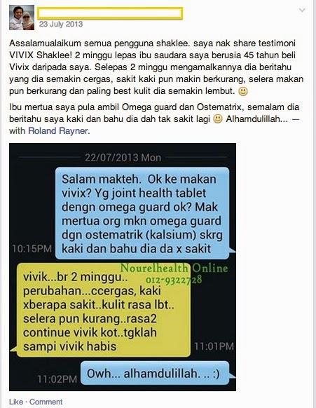 Testimonial Vivix Shaklee Sakit Sendi