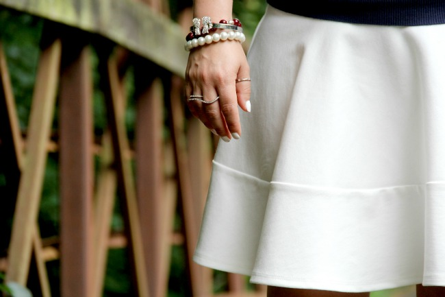 White skirt and accessories