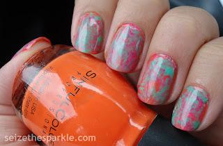 Pink/Orange/Teal Manicure