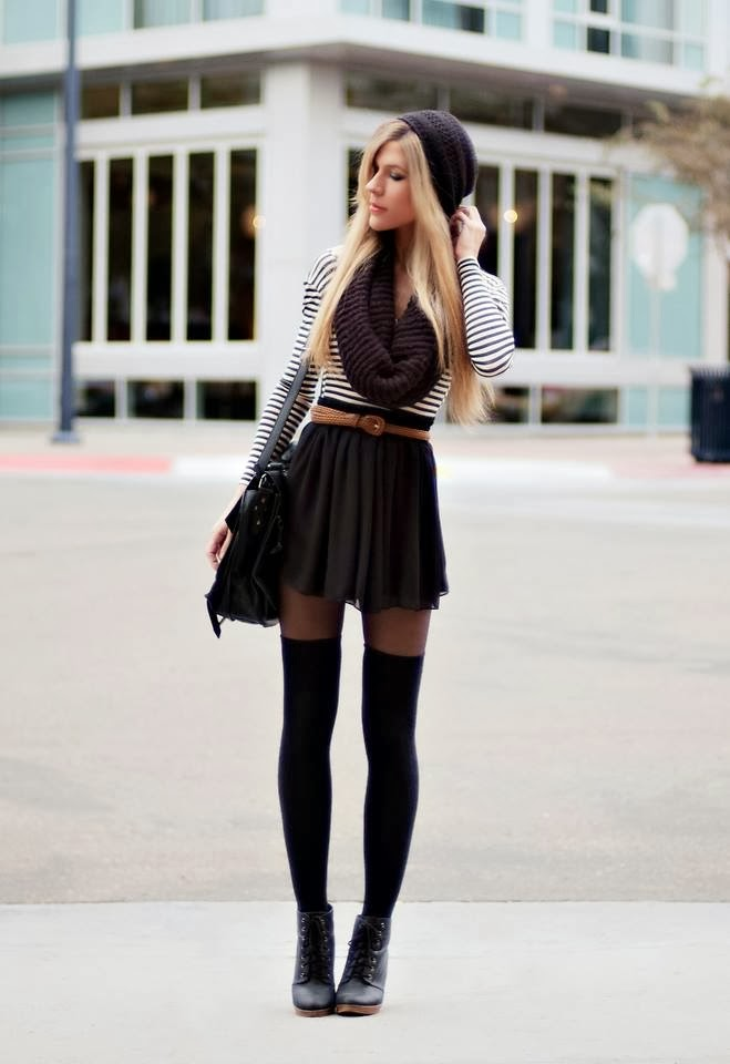 Long Socks and Short Skirts,Suitable Winter Hat and Scarf, Black Leather Boots and Handbag