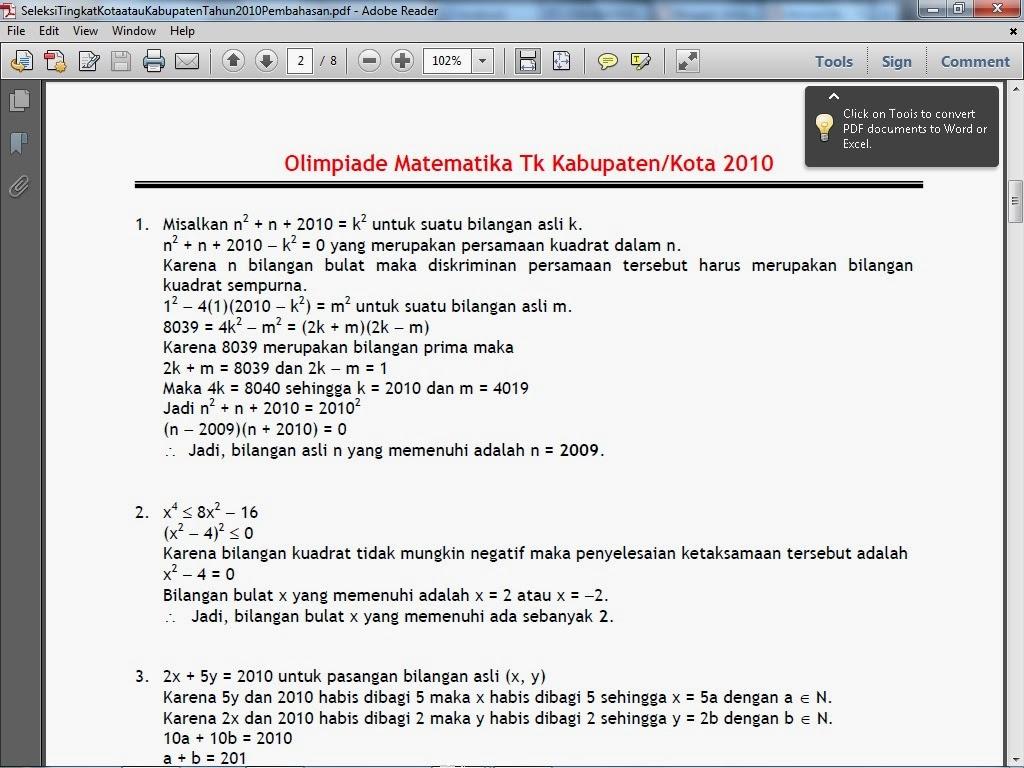 Soal Soal Osn Matematika Sma Tingkat Kabupaten Kota Tahun 2013 Newhairstylesformen2014 Com