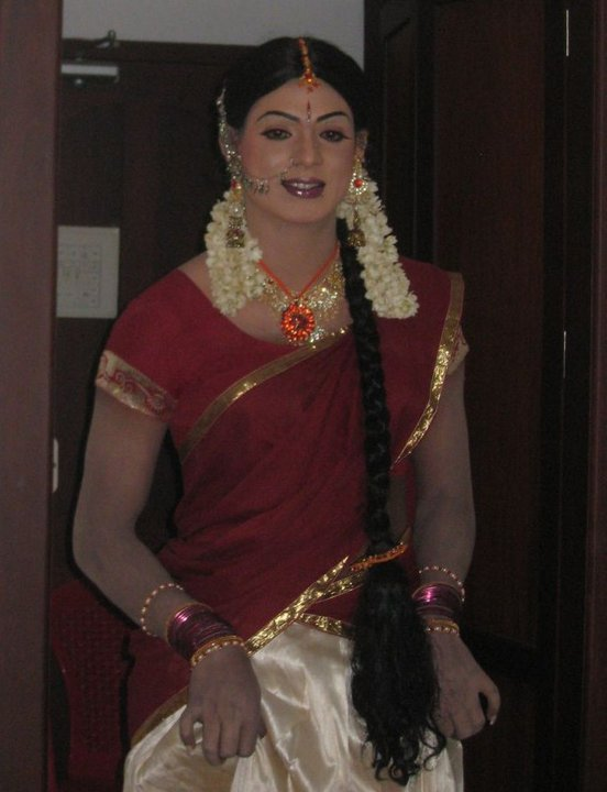 Some Pictures of Crossdressers in Half saree