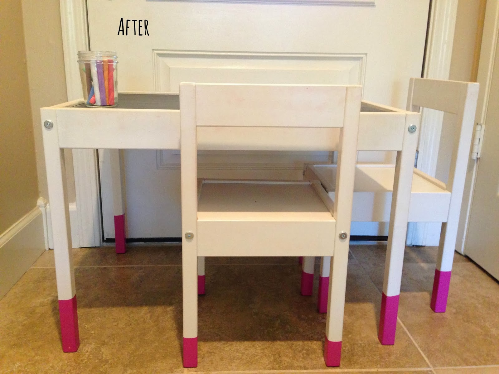 home style love ikea hack kid s chalkboard table top with pink dipped legs