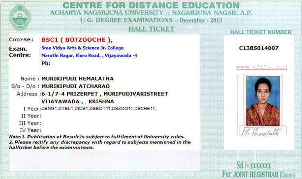original anucde student exams hall ticket