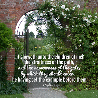 And again, it showeth unto the children of men the straitness of the path, and the narrowness of the gate, by which they should enter, he having set the example before them. 2 Nephi 31:9