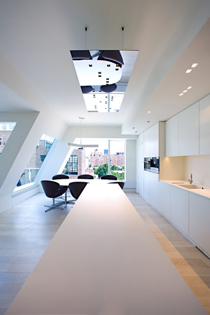 Photo of dinning room in one of the modern New York penthouses