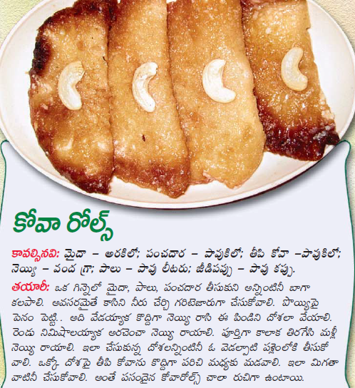 Healthy food recipes kova rolls preparation in telugu kova rolls preparation in telugu forumfinder Choice Image