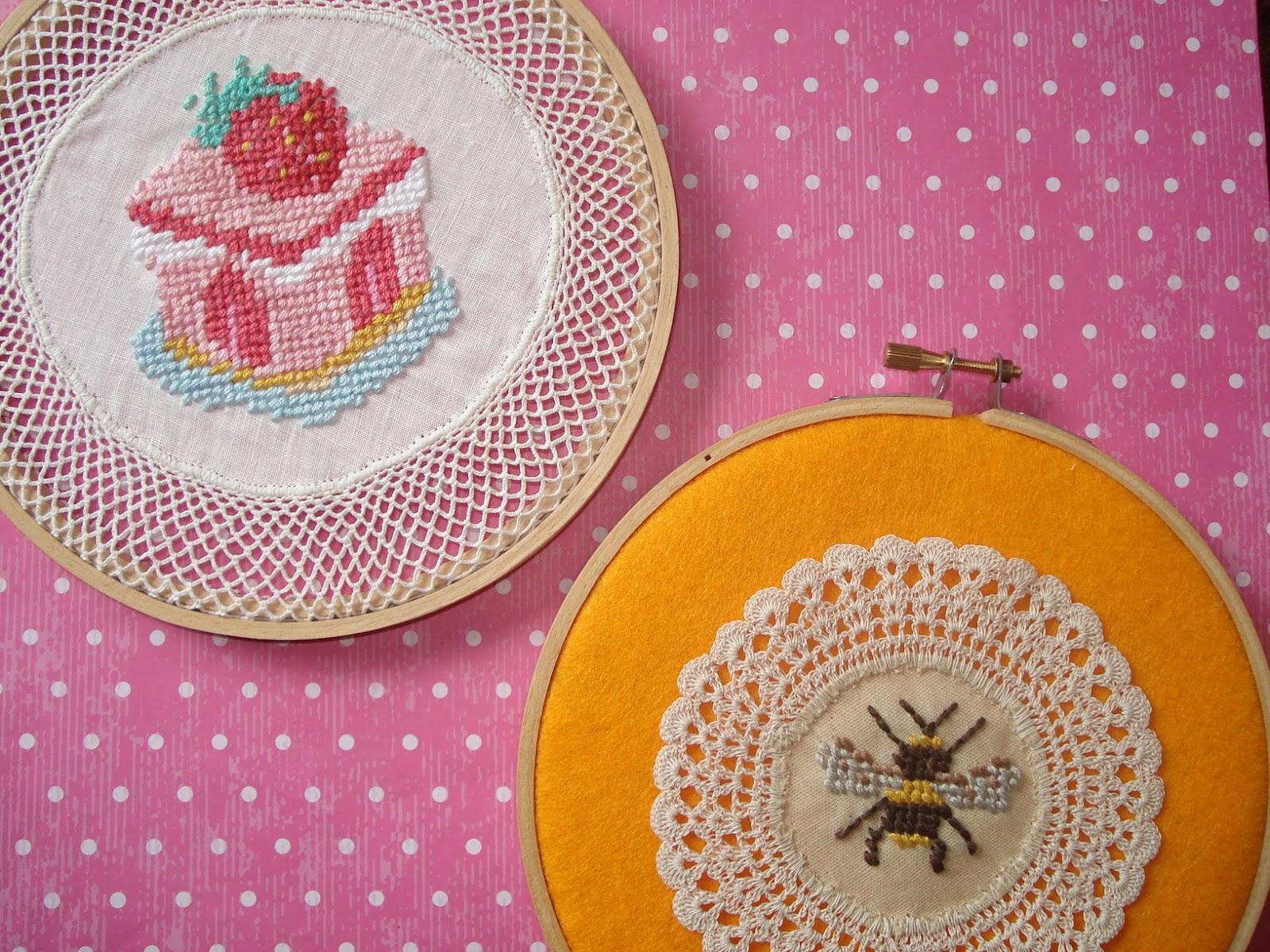 Cupcake cutie embroidery hoop art