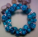 Turquois Cracked Glass Bracelet Set Earrings to match