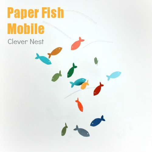 colorful paper fish mobile #nursery #craft #diy