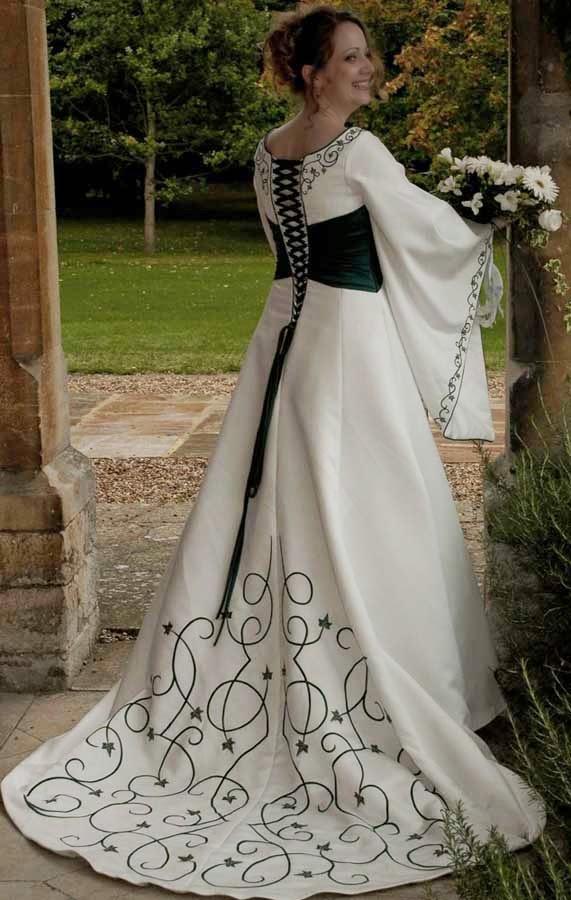 Cheap Celtic Wedding Dresses Long Trains Design pictures hd