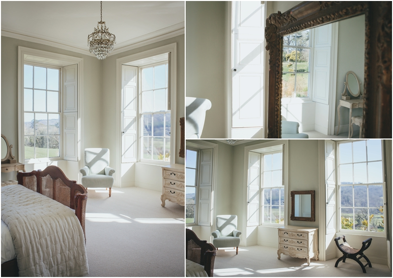 Bedroom with double aspect views over Devon countryside