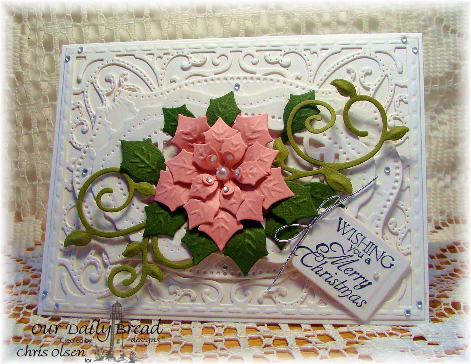 Our Daily Bread Designs, Peaceful Poinsettia dies, Fancy Foliage dies, Vintage Flourish Pattern dies, Recipe and tags dies, Holly wreath designer-Chris Olsen