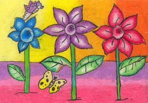 25 Lukisan Bunga Dengan Crayon Ares Gambar