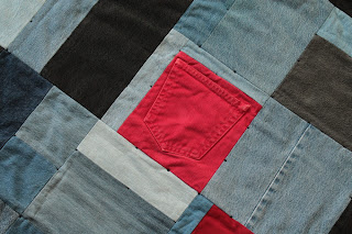 denim quilt crib or throw size red black and blue