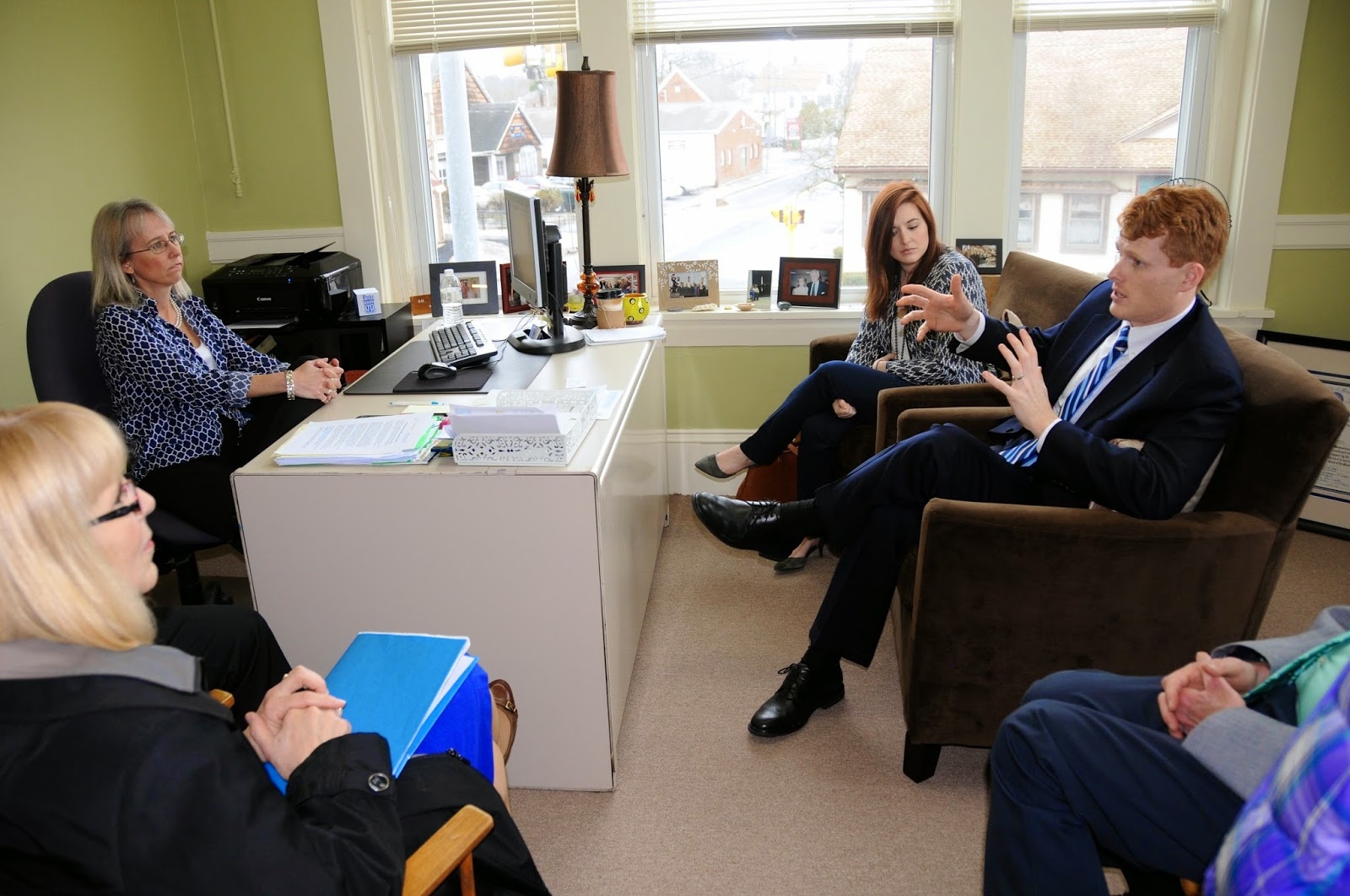 Congressman Kennedy (right) met with FDP Executive Director Lisa Piana and others Friday afternoon at the Partnership's office downtown.