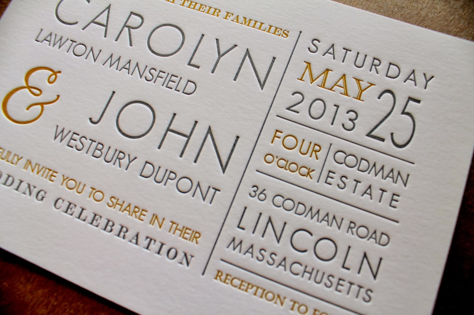 yellow and gray letterpress wedding invitation - Letterpress Wedding Invitations