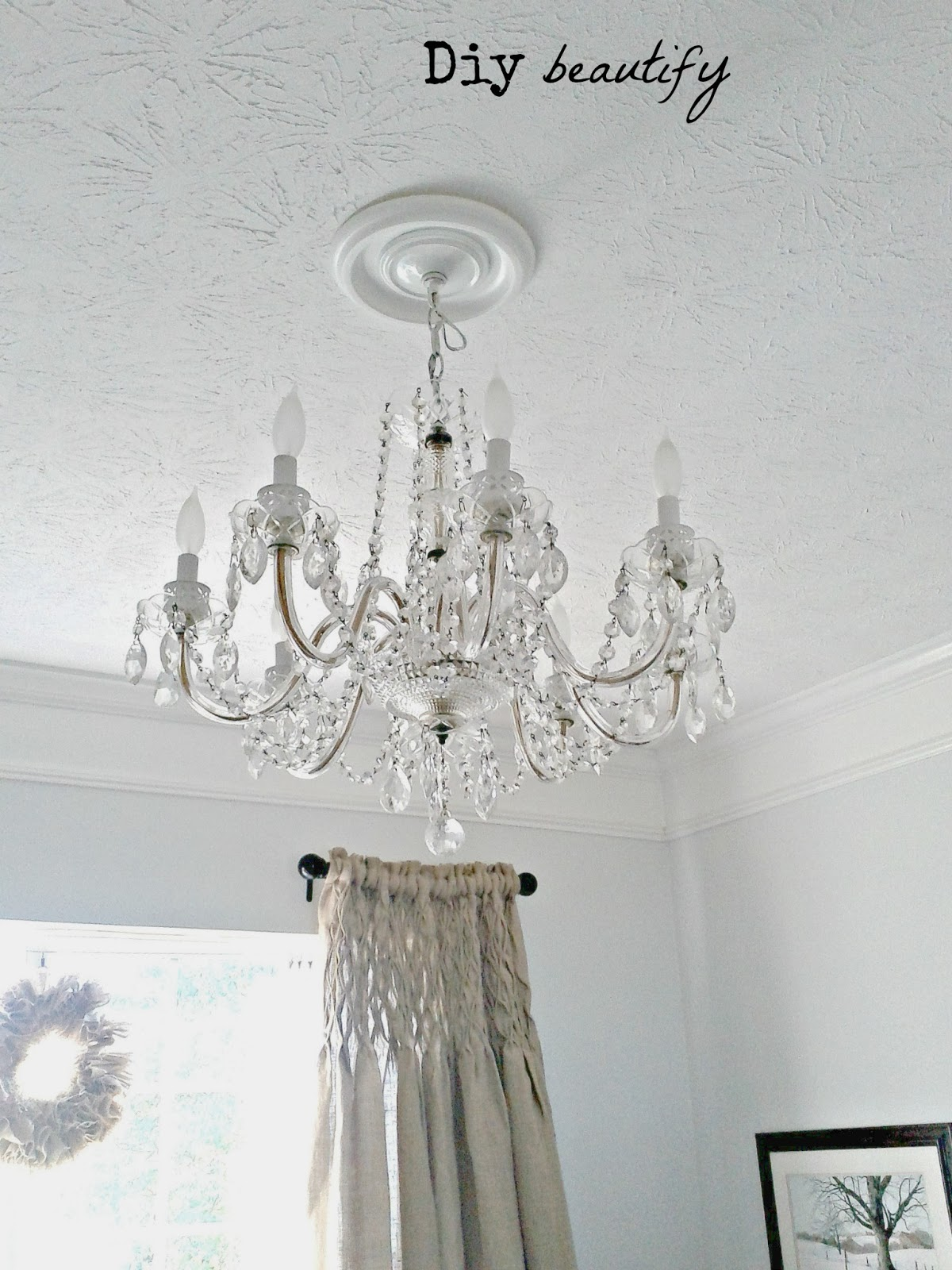 cover your chandelier cords with burlap diy beautify. Black Bedroom Furniture Sets. Home Design Ideas