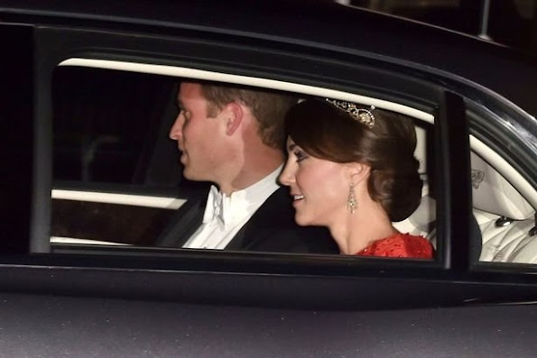 Catherine, the Duchess of Cambridge and Prince William, Duke of Cambridge. The Duchess of Cambridge will attend her first state banquet at Buckingham Palace